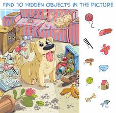 In the first printable, kids are asked to search for twelve hidden objects in scene filled with sea creatures and scuba diving animals. Hidden Object Puzzle Prime
