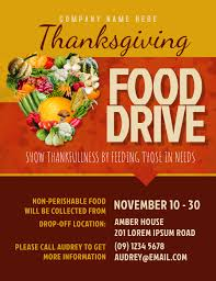 Food Drive Flyers Templates Thanksgiving Food Drive Flyer Template Postermywall
