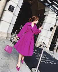 long black trench coat hot pink woolen sam759