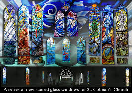 trinity new stained glass windows at st colmans church by sunrise stained glass