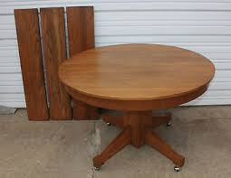 antique mission oak round table 45 diameter 3 leaves dining room kitchen cabin