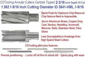 Annular Cutter Size Chart 1 562 1 9 16 Inch Cutting Diameter X 2 3 16 Depth Of Cut Carbide Tipped Annular Cutter Id 3641 Hml 1 9 16