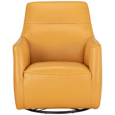 city furniture izzy yellow leather swivel accent chair