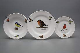 Plate set Ofelia Bird world 12-piece GBB | Bird world | Bohemia Porcelain  1987