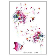 тату наклейка водонепроницаемые перо цветок временные одуванчик