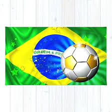flag gold green and soccer ball rug area
