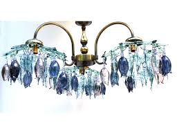 hand blown blue glass chandelier