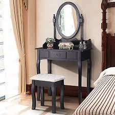 vanity black makeup table dressing desk set with stool mirror drawer bedroom