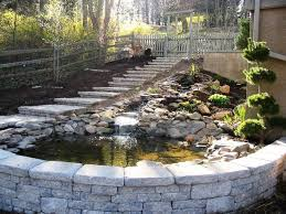 natural stone pond custom ep henry retaining wall and steps traditional landscape