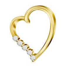 0 02ct rd diamonds set in 14kt yellow gold las heart pendant