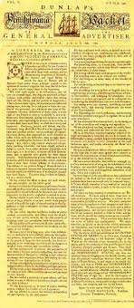 the slow spreading news of american independence  dunlap s pennsylvania packet or the general advertiser