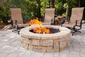 Delightful Rosetta Round Outdoor Fire Pit Kit Stone