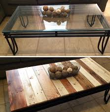 coffee table makeover from glass to pallet wood for a rustic feel