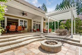 stamped concrete walkway and patio area