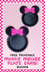 free printable minnie mouse plate ears in hot pink red and baby pink