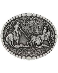 montana silversmiths clic oval team roping atude belt buckle silver hi res
