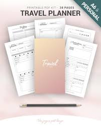 Personal Vacation Planner Travel Planner Printable Vacation Planner Kit Travel Journal Trip Itinerary Road Map Packing List Planning A6 Personal Size Inserts
