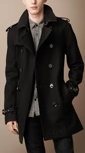 burberry brit midlength wool blend trench coat in black