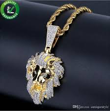 whole iced out chains pendant designer necklace hip hop jewelry mens lion head pendants diamond luxury cuban link wedding pandora style charms