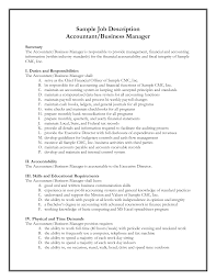 Accountant Job Profile Resume Brilliant Ideas Of Business Job Description Sample Sales Manager Job 2