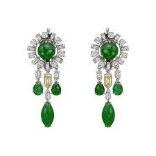 jade multicolored diamond chandelier earrings