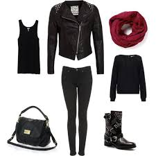 chic black leather jacket outfit idea for women