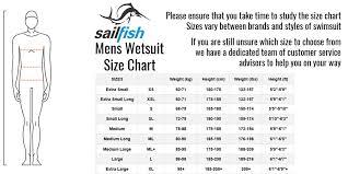 Sailfish Wetsuit Size Chart Sailfish Mens G Range Wetsuit