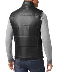 Calvin Klein Mens Full Zip Mock Neck Faux Leather Quilted Vest ... & Brand new: lowest price Adamdwight.com