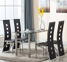 5 Piece Tempered Glass Dining Table And Chairs Set Kitchen Furniture