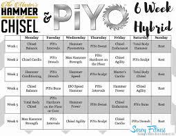 piyo workout calendar hammer and chisel piyo hybrid workout calendar