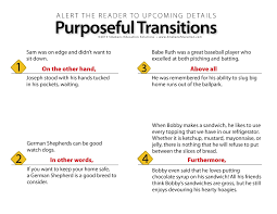 transitioning sentences connect ideas within paragraphs