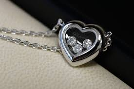 chopard happy diamonds heart necklace 18 kt white gold 0 17 ct diamond with