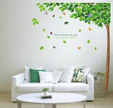 diy green tree and erfly removable vinyl wall decal sticker art mural home decor room bedroom decor