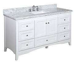 Single white bathroom vanities Sink Bathroom Abbey 60inch Single Bathroom Vanity carrarawhite Includes White Shaker Amazoncom Abbey 60inch Single Bathroom Vanity carrarawhite Includes White