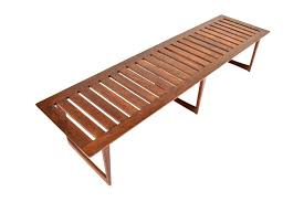 mid century danish modern teak slat benchcoffee table  retro therapy