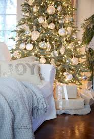 Decorating with white for a French Country Cottage style simple & elegant  Christmas tree.