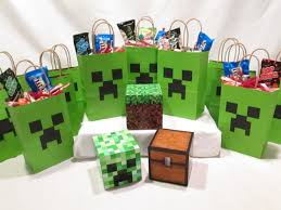 Minecraft Party Decorations Minecraft Party Decorations 12 Creeper Bags And 3 Solid Table