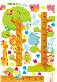 Kids Child Height Chart Measure Tape Wall Stickers Natural