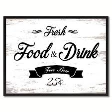 fresh food drink vintage sign white canvas print home decor wall art gifts picture frames on wall art pictures of food with fresh food drink vintage sign home decor wall art gift ideas