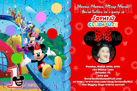 mickey mouse st birthday invitations invitations design mickey mouse clubhouse 1st birthday invitation custom photo