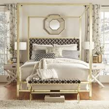 ... bedroom Large-size Inspire Q Solivita King Sized Canopy Gold Metal  Poster Bed Tufted Off ...