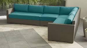 outdoor furniture crate and barrel. Perfect Furniture Crate U0026 Barrel Ventura Umber 4Piece Loveseat Sectional With Sunbrella   Cushions Bold Turquoise On Outdoor Furniture And