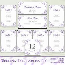 printable wedding seating chart template diy purple silver