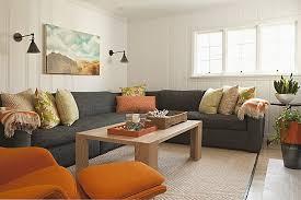 living room modern decor orange and grey