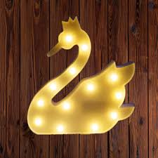 Swan Light Swan Design Marquee Sign Lights Led Night Light Table Lamp Marquee Letter Lights Swan Shape Signs Light Up Christmas Party Home Decoration Battery
