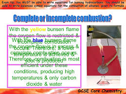 gcse core chemistry exam tip you must be able to write equations for burning hydrocarbons