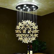 SXFR ZN Crystal Chandeliers, Restaurant Lights Round Living Room Bedroom  Lights Simple Modern Stairs