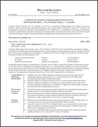 Resume Outlines Examples Resume Sample For A Cfo