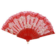 folding hand fan. spanish style lace silk plastic rose printed folding hand fans dance party wedding favor decoration fan