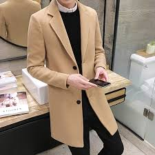mens winter formal trench coat single ted overcoat